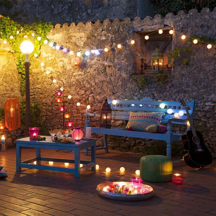 Outdoor Diwali Party Seating Ideas, outdoor patio seating area, Solar string lights, solar table top lanterns