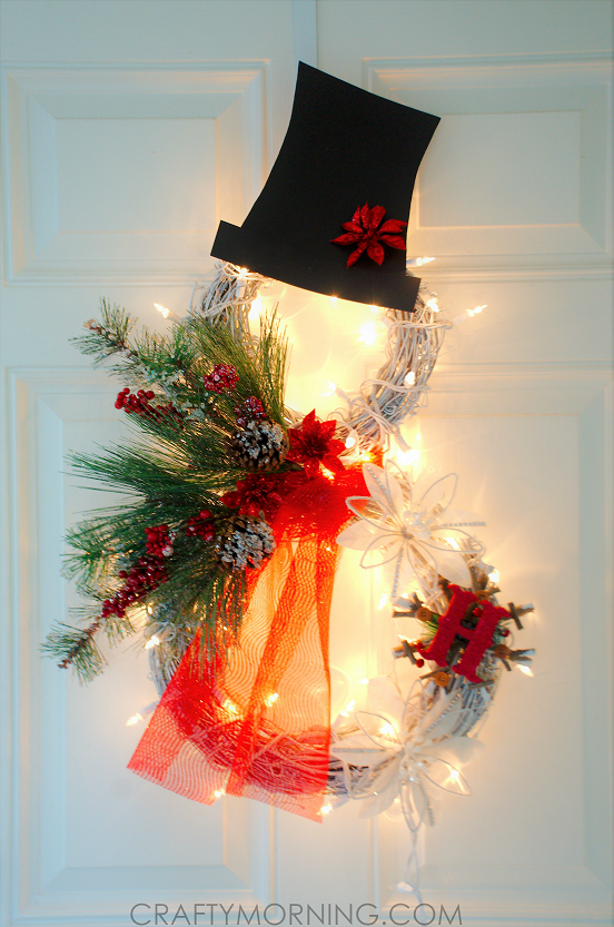 DIY Lighted Grapevine Snowman Wreath