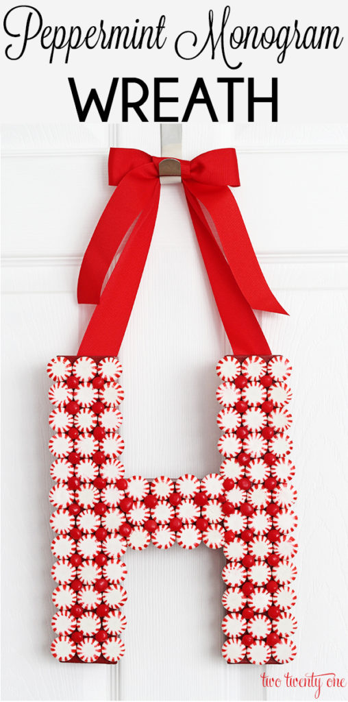 DIY Peppermint Monogram Wreath