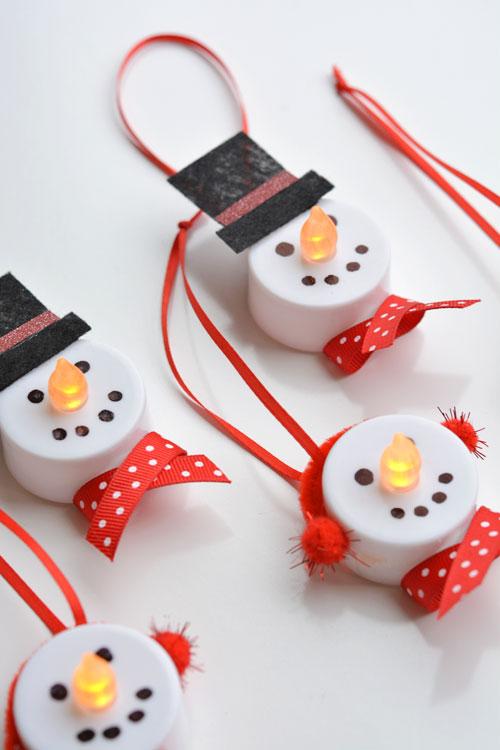 DIY Tea Light Snowman Ornaments