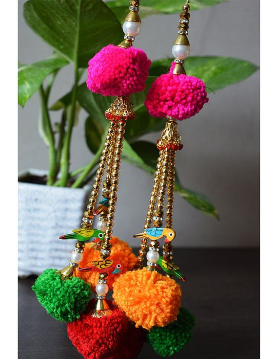 Handmade Tribal Gypsy Cotton decorative tassels, decorating supplies and Bells Tassel / PomPom / Camel swag / Embellishment/
