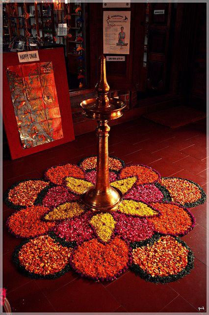 Flower Rangoli for Pooja Room