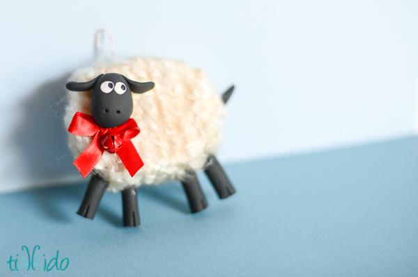 DIY Fluffy Friendly Sheep Christmas Ornament