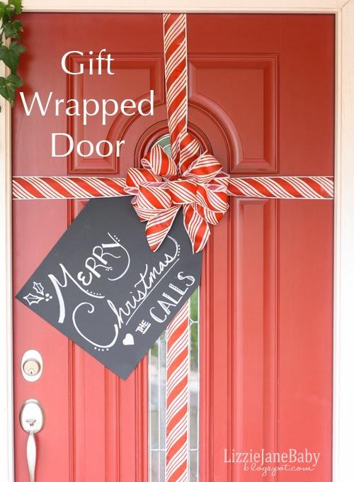 DIY Gift Wrapped Front Door