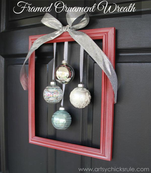 DIY Holiday Framed Ornament Wreath
