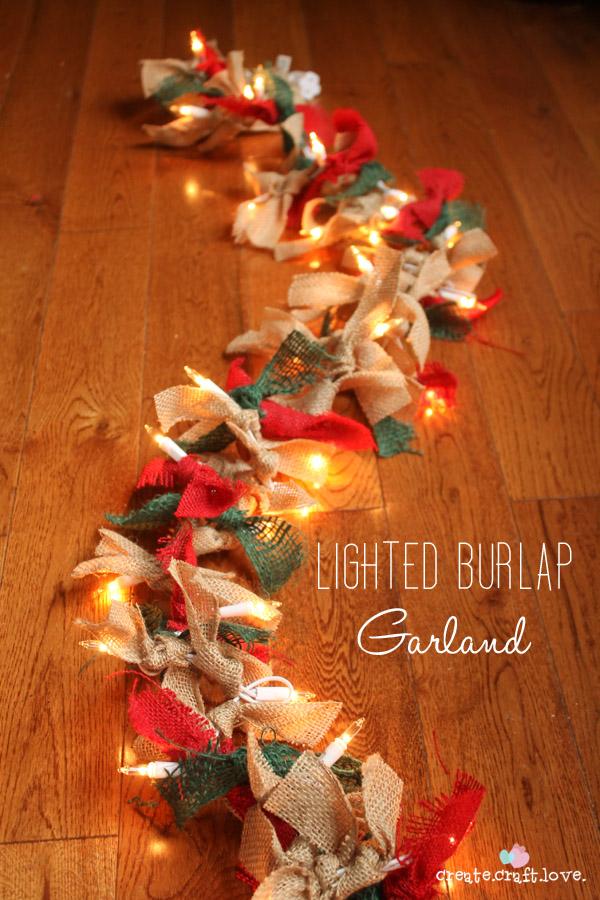 DIY Lighted Burlap Garland For Christmas
