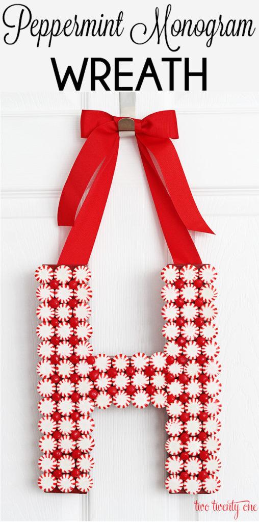 DIY Peppermint Monogram Wreath
